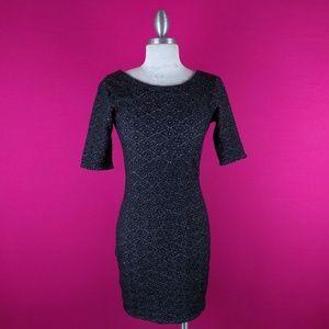 @ Free People sz S Black Grey Dress Stretch Sheath